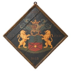 19th Century Dutch Polychrome Painted Wooden Funerary Hatchment or Rouwbord