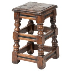 19th Century Dutch Rustic Oak Stool