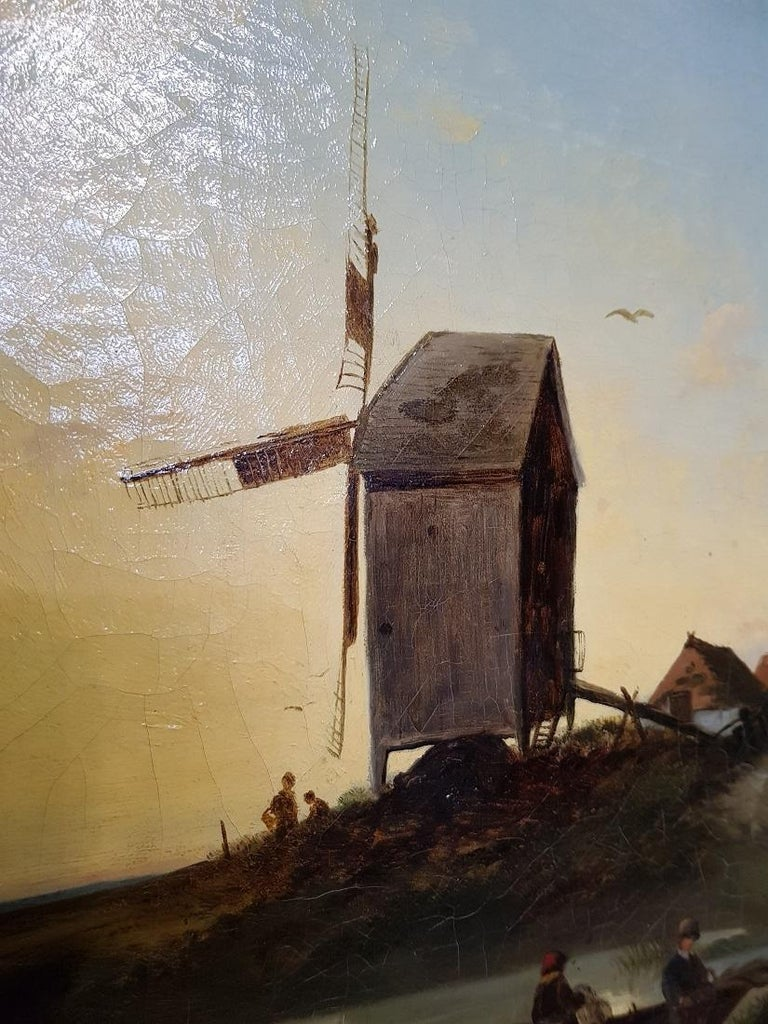 19th Century Dutch School Oil Painting with Landscape of Fishermen Near a Mill In Fair Condition For Sale In Raalte, NL