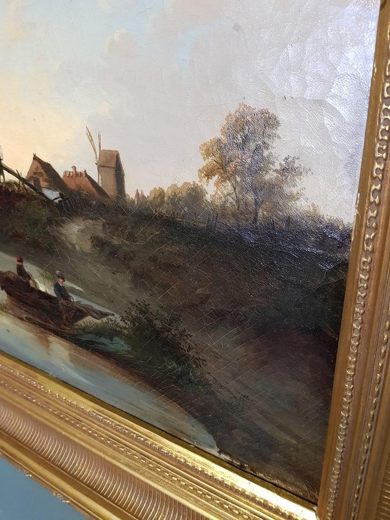 Wood 19th Century Dutch School Oil Painting with Landscape of Fishermen Near a Mill