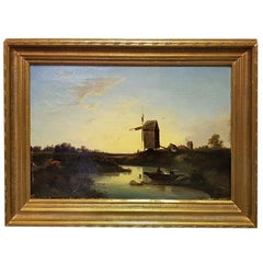 19th Century Dutch School Oil Painting with Landscape of Fishermen Near a Mill