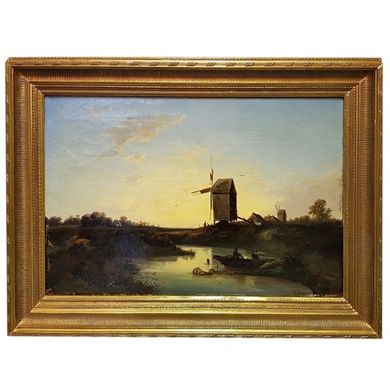 19th Century Dutch School Oil Painting with Landscape of Fishermen Near a Mill For Sale