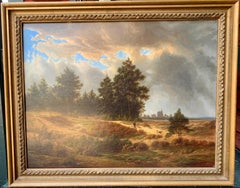 19th century Dutch / European school, man out in a landscape with his dog