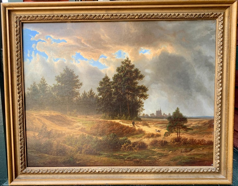 19th century Dutch School Landscape Painting - 19th century Dutch / European school, man out in a landscape with his dog