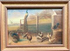 19th century Dutch or Flemish bird study in a landscape, with chickens, turkey