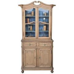 19th Century Dutch Stripped Oak Bookcase, Vitrine