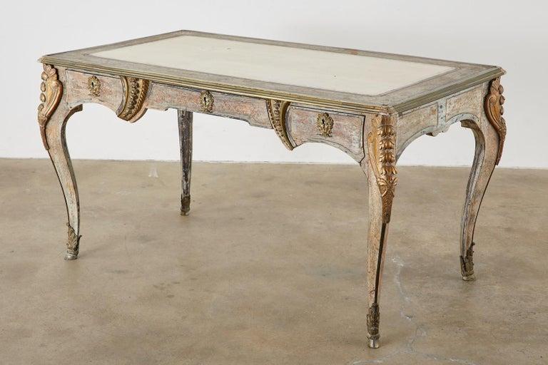 19th Century E. Khan and Cie Louis XV Bureau Plat Desk For Sale 4