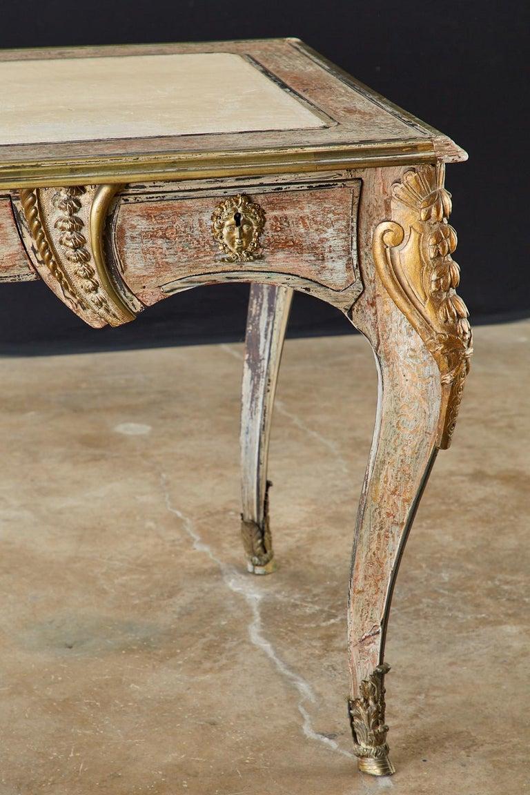 19th Century E. Khan and Cie Louis XV Bureau Plat Desk For Sale 5