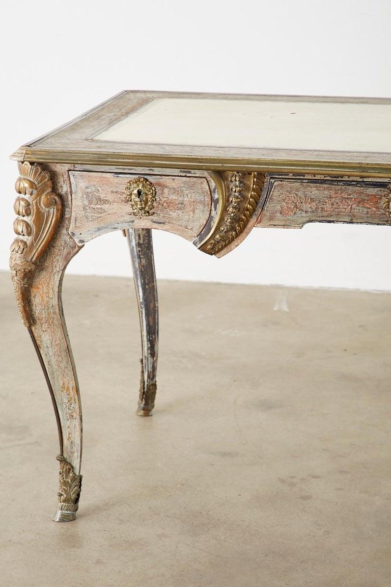 19th Century E. Khan and Cie Louis XV Bureau Plat Desk For Sale 7