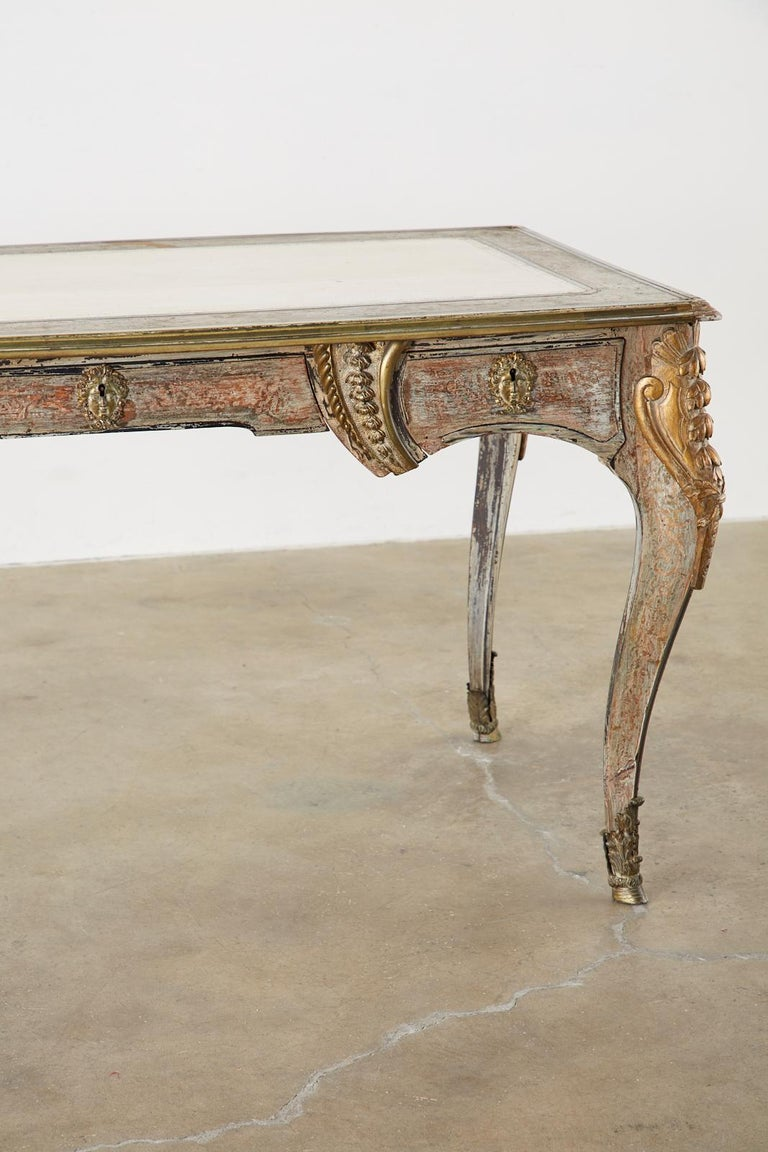19th Century E. Khan and Cie Louis XV Bureau Plat Desk For Sale 8