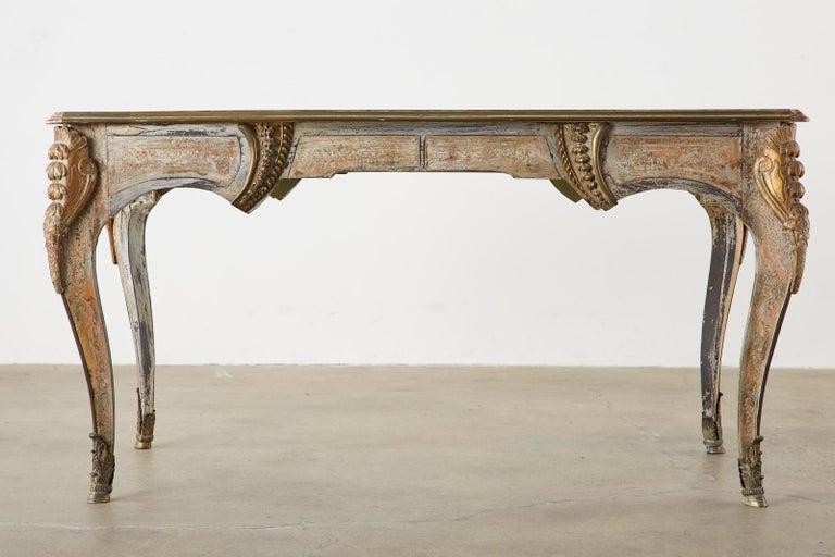 19th Century E. Khan and Cie Louis XV Bureau Plat Desk For Sale 14