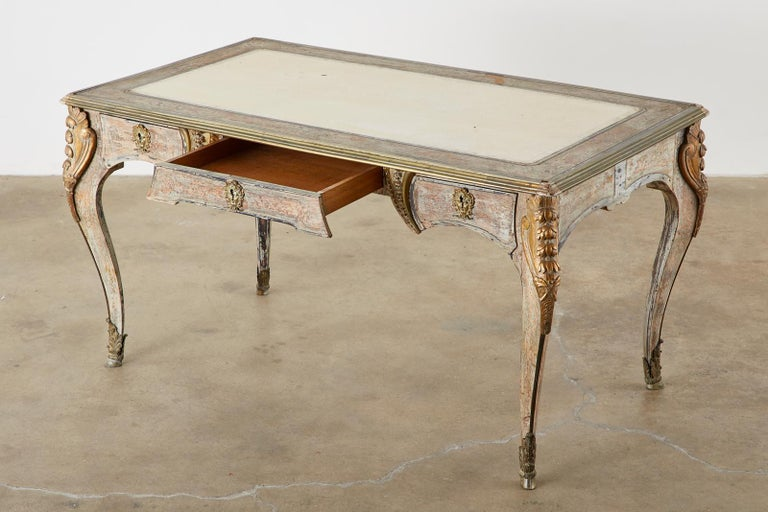 19th Century E. Khan and Cie Louis XV Bureau Plat Desk In Distressed Condition For Sale In Oakland, CA