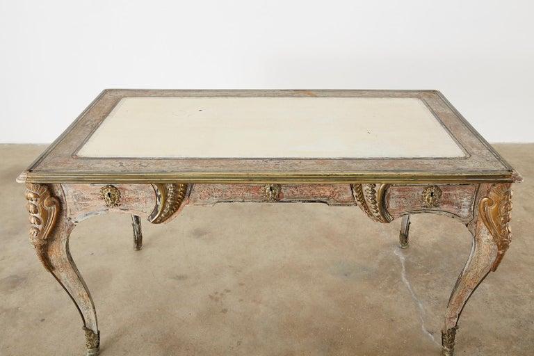 19th Century E. Khan and Cie Louis XV Bureau Plat Desk For Sale 1