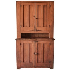 19th Century Early American Painted Step Back Cupboard