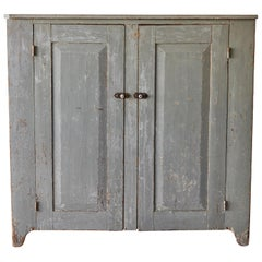 19th Century Early American Painted Two Door Cupboard
