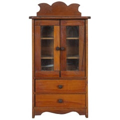 19th Century Early American Pine Cupboard Miniature Salesman Sample Cabinet