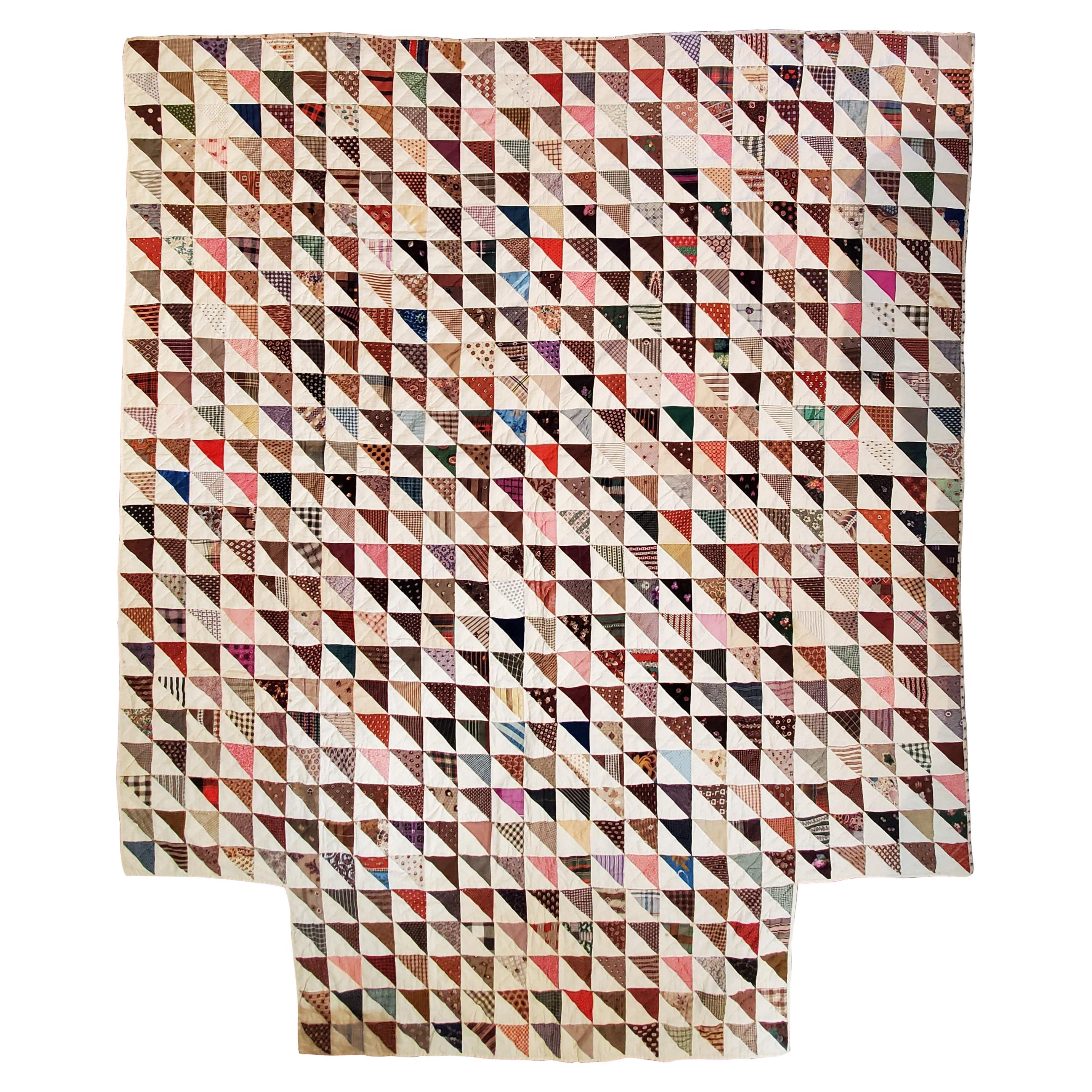 19th Century Early Fabric Flying Geese Quilt