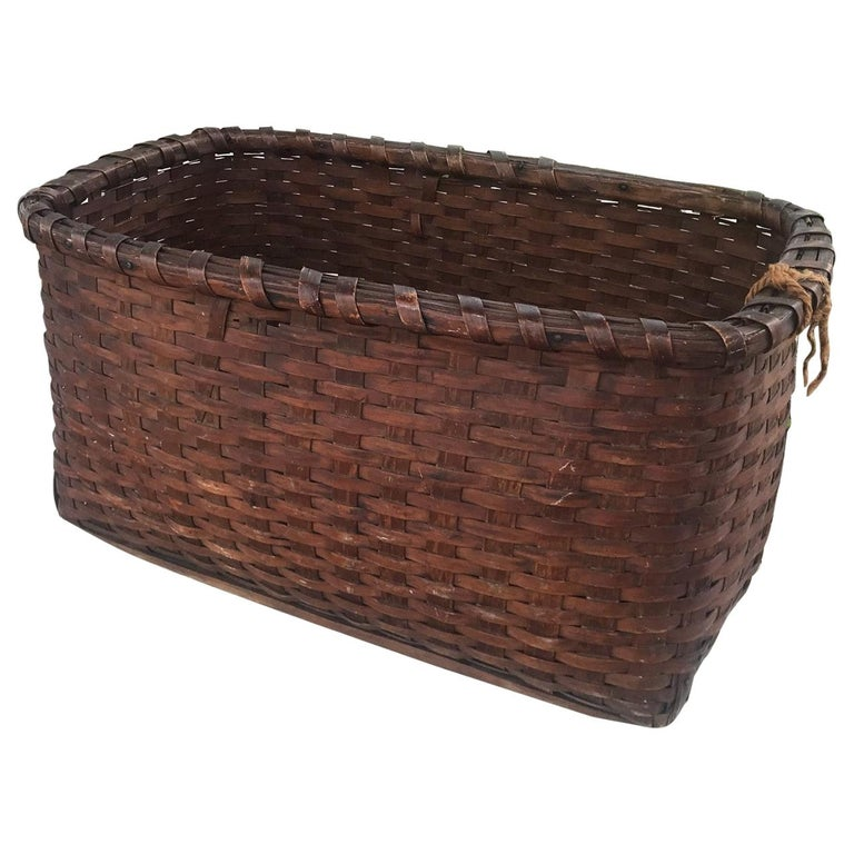 19th Century Early Gathering Basket from New England For Sale