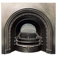 19th Century Early Victorian Arched Cast Iron Fireplace Insert