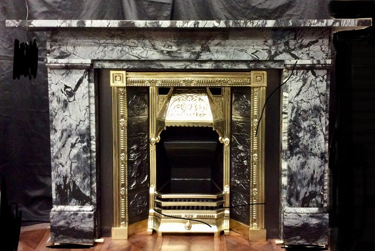 19th Century Early Victorian Grey Bardigilo Marble Fireplace Surround For Sale 4