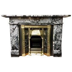19th Century Early Victorian Grey Bardigilo Marble Fireplace Surround