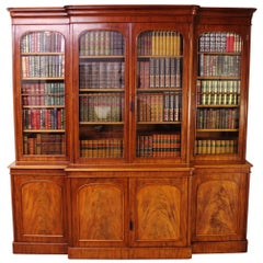 19th Century Early Victorian Mahogany Large Breakfront Library Bookcase