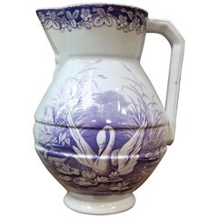 19th Century Earthenware Pitcher with Swan