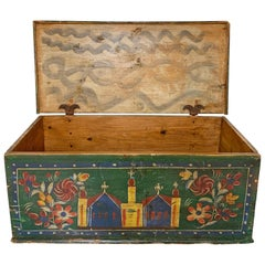 19th Century Eastern European Antique Folk Art Painted Chest