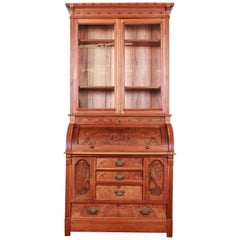 19th Century Eastlake Victorian Walnut and Burl Cylinder Desk with Bookcase