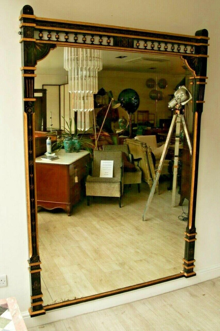 This superb 19th century large ebonised and parcel gilt Aesthetic Movement overmantel/pier mirror is a rare find.  Beautiful statement mirror with its original glass.  Condition:  Great antique condition, beautiful authentic aged patina on the