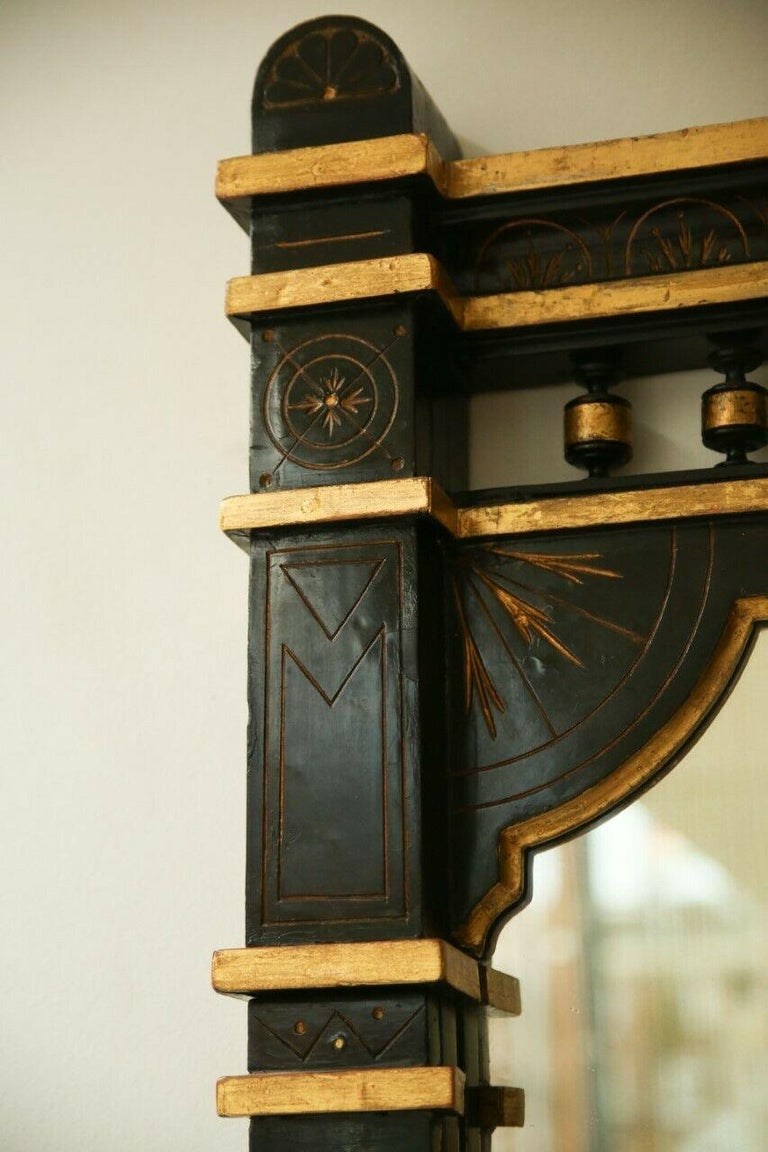 Mid-19th Century 19th Century Ebonised and Gilt Aesthetic Movement Overmantel/Pier Mirror