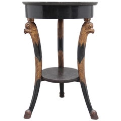 19th Century Ebonised and Gilt Marble Top Occasional Table