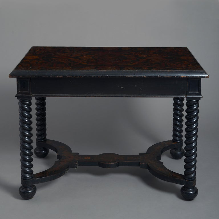 Baroque 19th Century Ebonized Centre Table For Sale