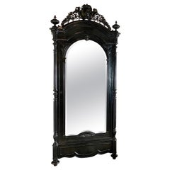 19th Century Ebonised French Gothic Armoire