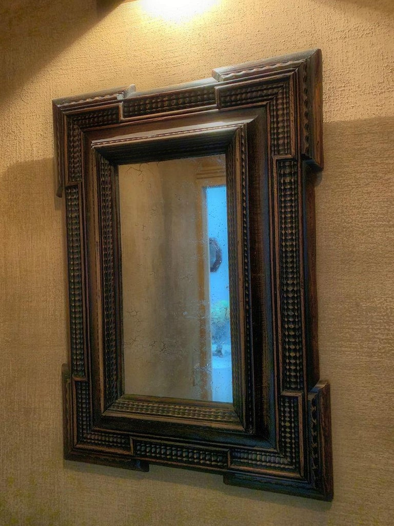 19th Century Ebonised Italian Mirror In Good Condition For Sale In Vosselaar, BE