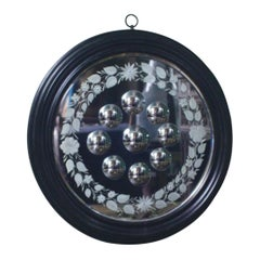 19th Century Ebonized and Reeded Sorceress Witches Convex Mirror