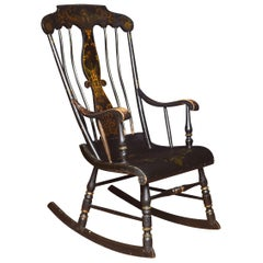 19th Century Ebonized and Gilt Painted Rocking Chair