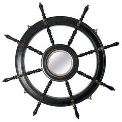 19th Century Ebonized and Turned Wood Ship's Wheel Mirror and Hat and Coat Rack