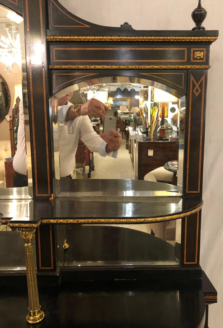 19th Century Ebonized Bronze Mounted Sideboard Vitrine with Matching Mirror In Good Condition In Stamford, CT