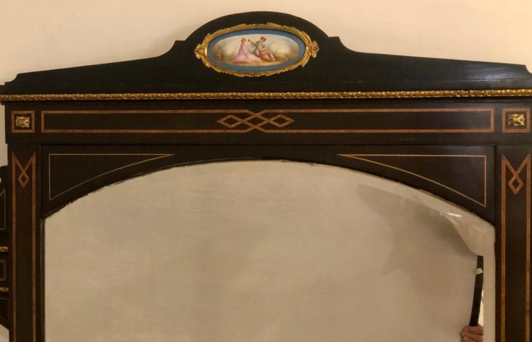 19th Century Ebonized Bronze Mounted Sideboard Vitrine with Matching Mirror 2