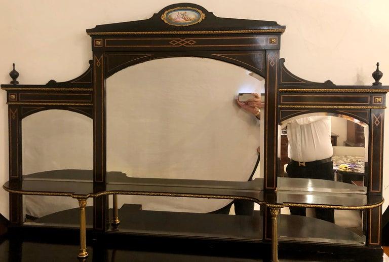 19th Century Ebonized Bronze Mounted Sideboard Vitrine with Matching Mirror 3