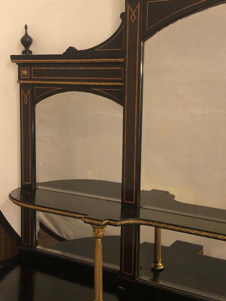 19th Century Ebonized Bronze Mounted Sideboard Vitrine with Matching Mirror 4