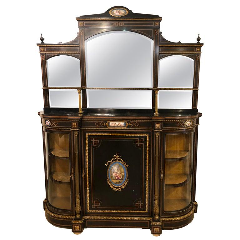 19th Century Ebonized Bronze Mounted Sideboard Vitrine with Matching Mirror