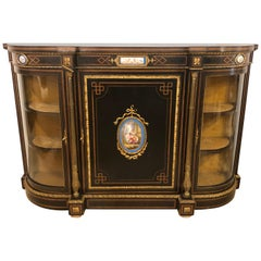 19th Century Ebonized Bronze Mounted Sideboard with Sevres Plaques