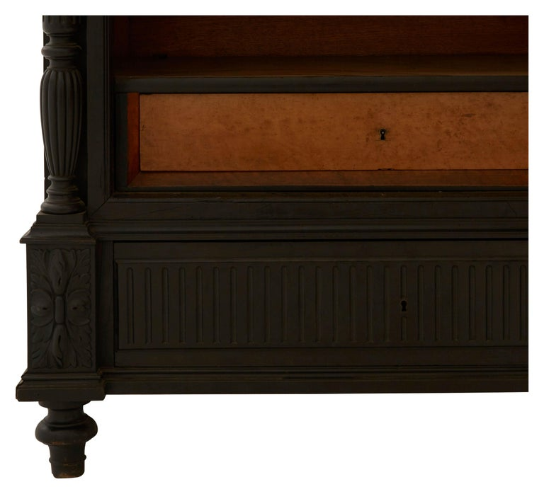 19th Century Ebonized Carved Wood Armoire For Sale 4