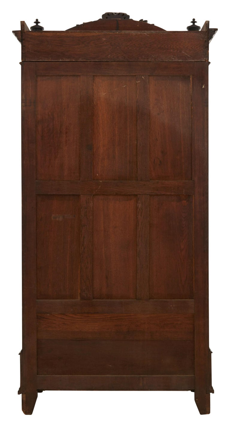 19th Century Ebonized Carved Wood Armoire In Good Condition For Sale In Chicago, IL