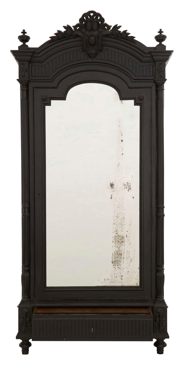 Mirror 19th Century Ebonized Carved Wood Armoire For Sale