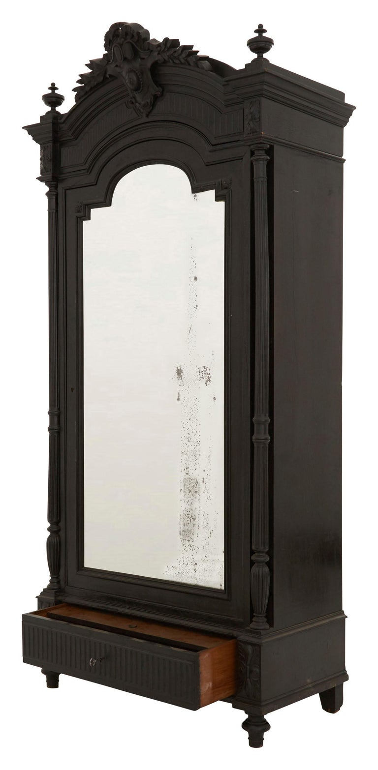 19th Century Ebonized Carved Wood Armoire For Sale 1