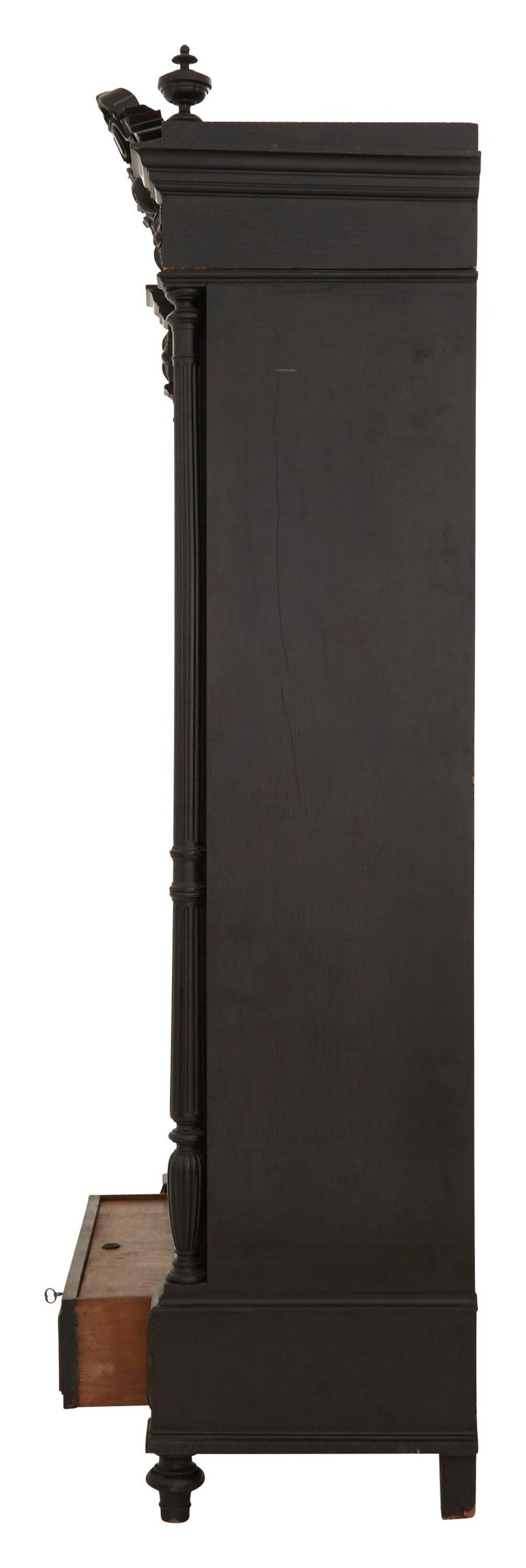 19th Century Ebonized Carved Wood Armoire For Sale 2