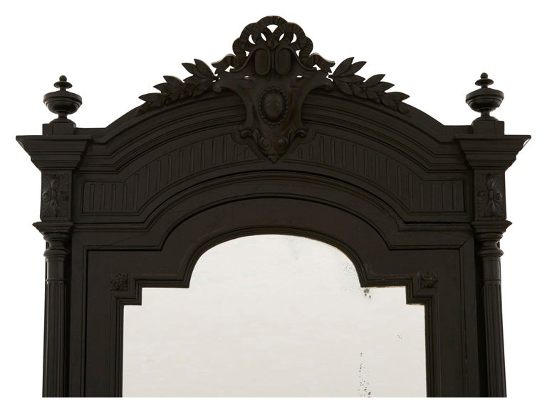 19th Century Ebonized Carved Wood Armoire For Sale 3
